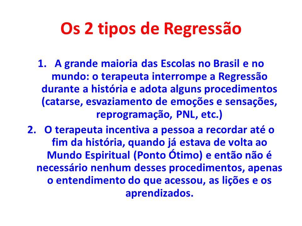 Os 2 tipos de Regressão 1.A grande maioria das Escolas no Brasil e no mundo: o terapeuta interrompe a Regressão durante a história e adota alguns proc