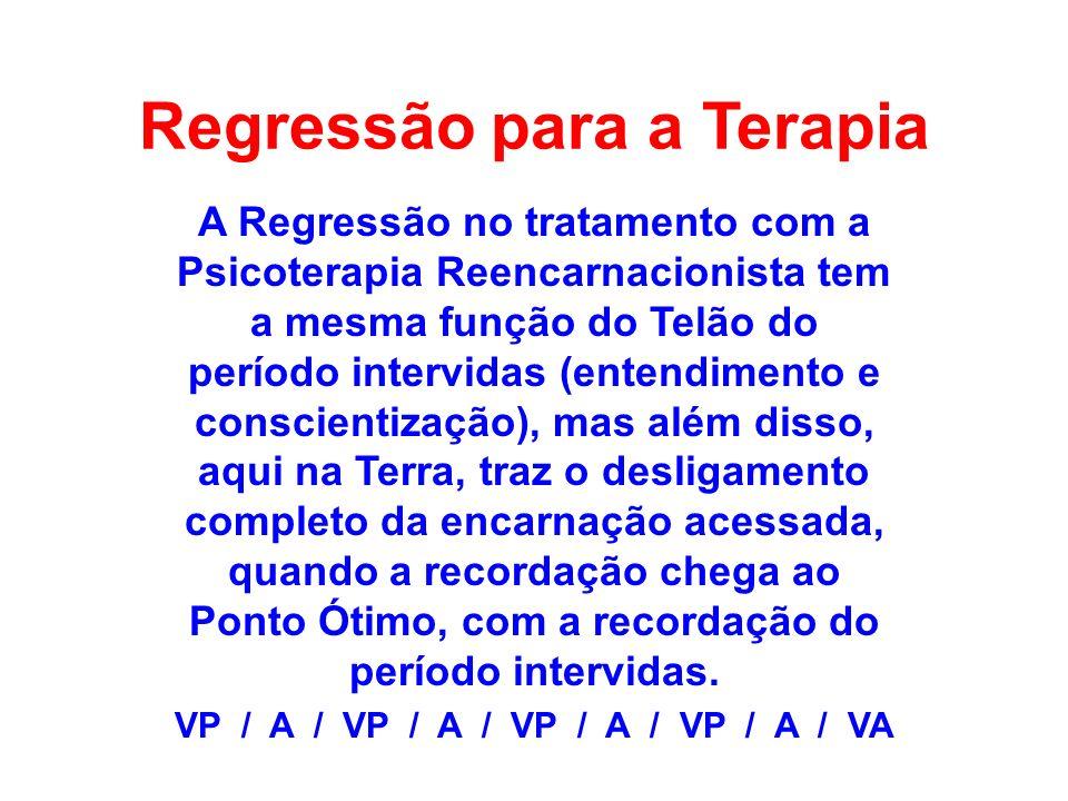 Regressão para a Terapia A Regressão no tratamento com a Psicoterapia Reencarnacionista tem a mesma função do Telão do período intervidas (entendiment