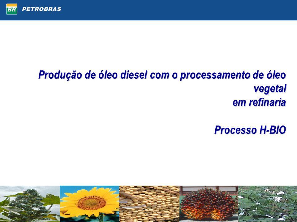 Produção de óleo diesel com o processamento de óleo vegetal em refinaria Processo H-BIO Produção de óleo diesel com o processamento de óleo vegetal em