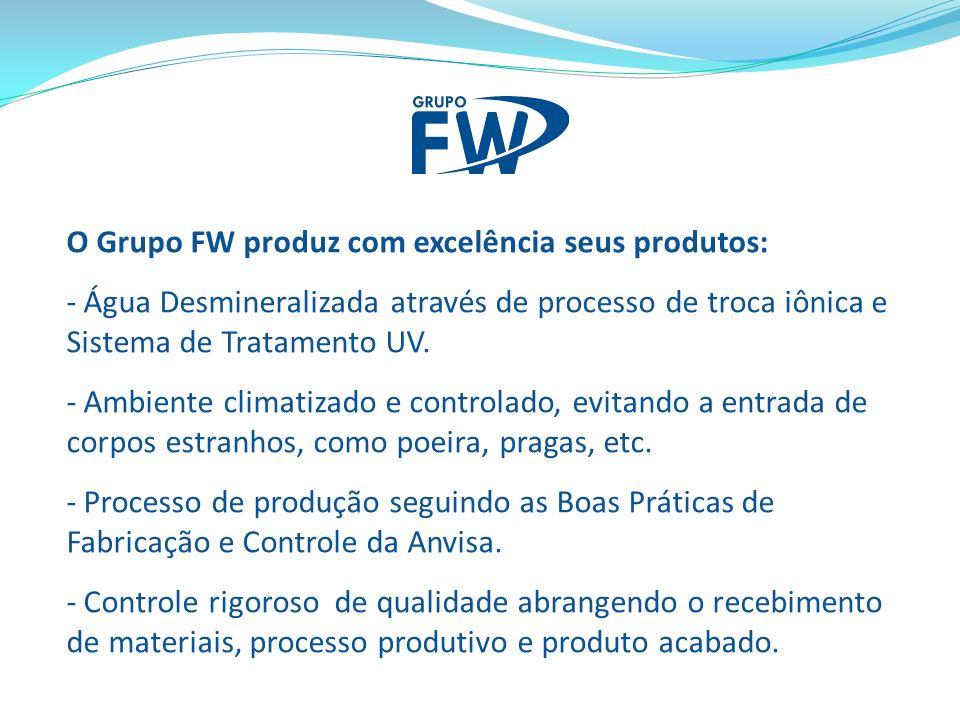 O Grupo FW produz com excelência seus produtos: - Água Desmineralizada através de processo de troca iônica e Sistema de Tratamento UV. - Ambiente clim