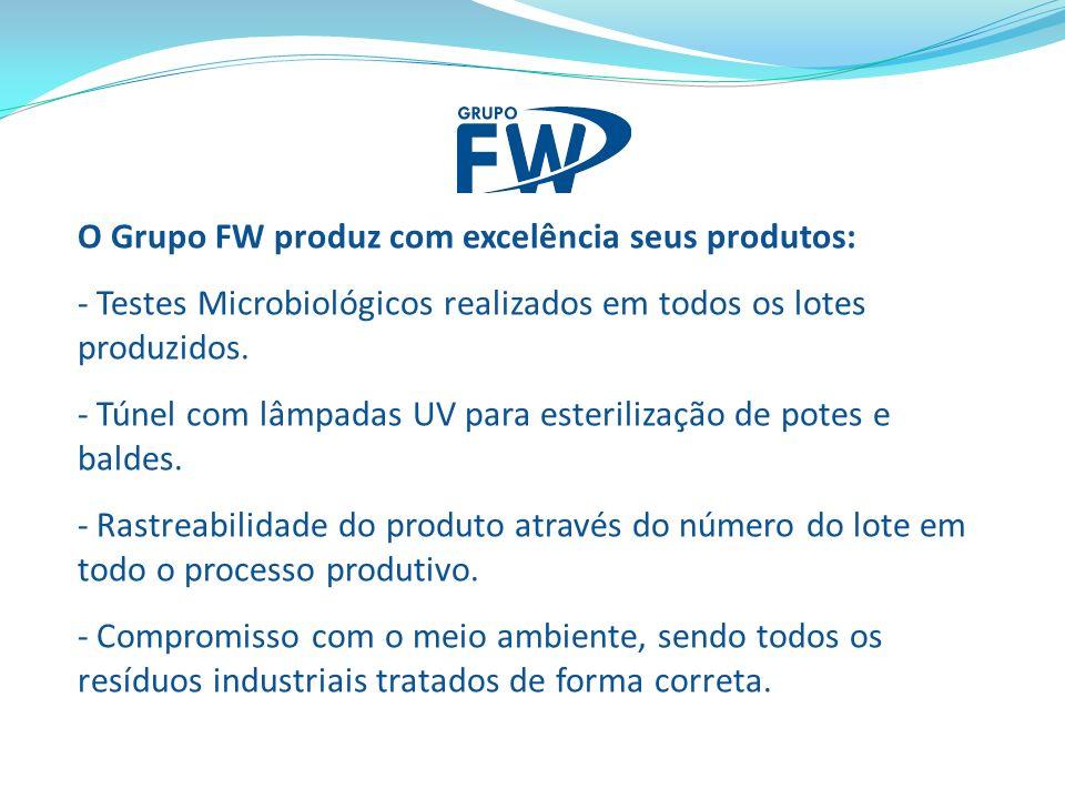 O Grupo FW produz com excelência seus produtos: - Testes Microbiológicos realizados em todos os lotes produzidos. - Túnel com lâmpadas UV para esteril