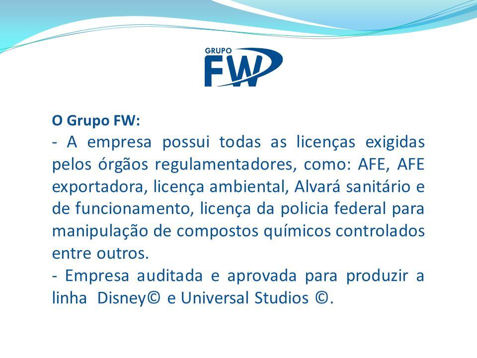 O Grupo FW: - A empresa possui todas as licenças exigidas pelos órgãos regulamentadores, como: AFE, AFE exportadora, licença ambiental, Alvará sanitário e de funcionamento, licença da policia federal para manipulação de compostos químicos controlados entre outros.