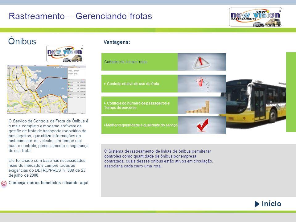 Rastreamento – Gerenciando frotas Ônibus Vantagens: Cadastro de linhas e rotas Controle do número de passageiros e Tempo de percurso. Controle efetivo