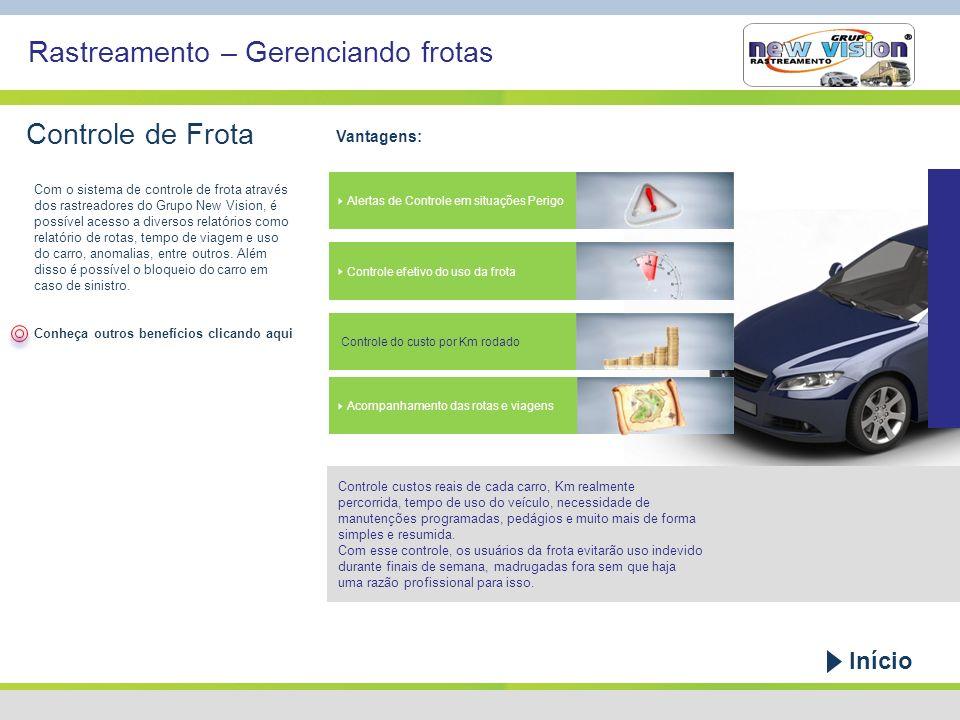 Rastreamento – Gerenciando frotas Controle de Frota Vantagens: Controle custos reais de cada carro, Km realmente percorrida, tempo de uso do veículo,