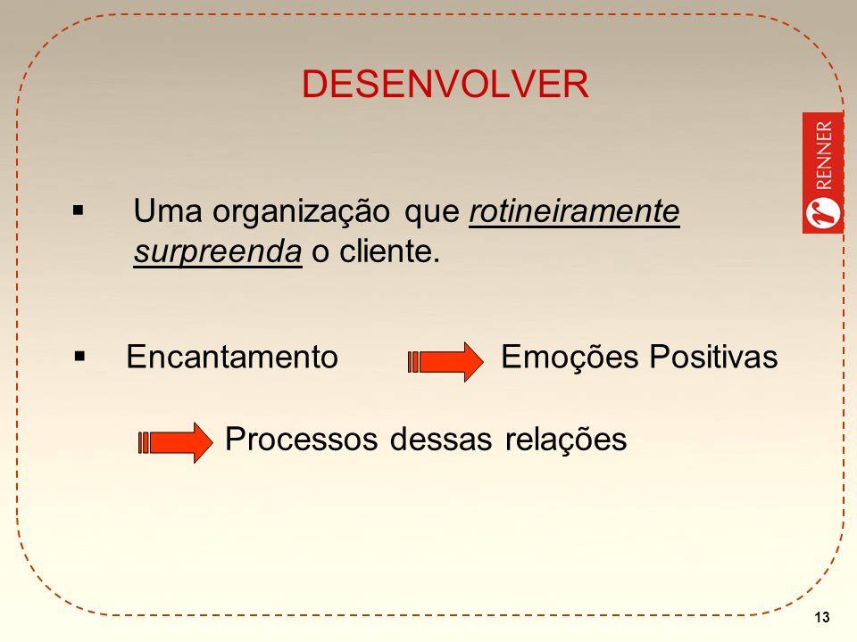 13 DESENVOLVER Uma organização que rotineiramente surpreenda o cliente. EncantamentoEmoções Positivas Processos dessas relações
