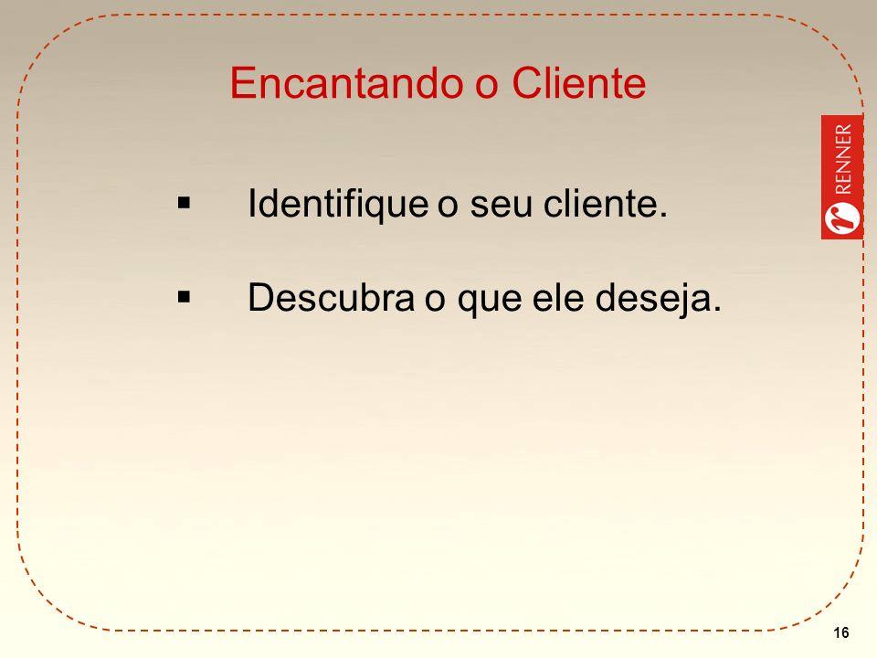 16 Encantando o Cliente Identifique o seu cliente. Descubra o que ele deseja.