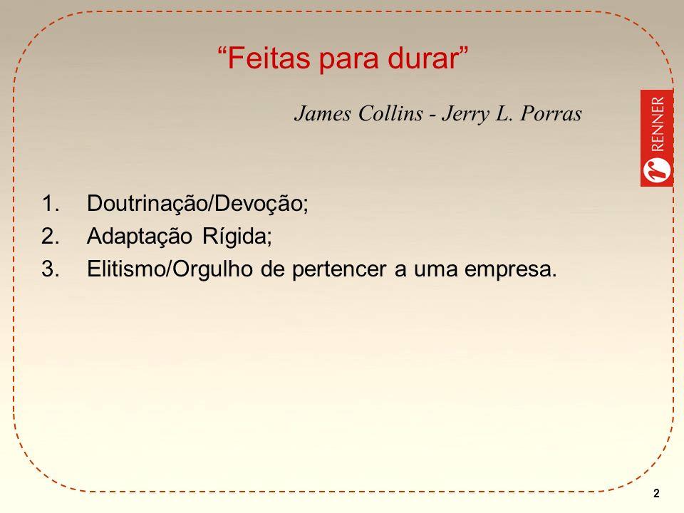 2 Feitas para durar 1.Doutrinação/Devoção; 2.Adaptação Rígida; 3.Elitismo/Orgulho de pertencer a uma empresa. James Collins - Jerry L. Porras