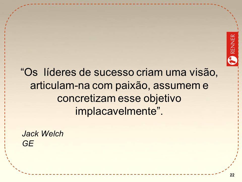 22 Os líderes de sucesso criam uma visão, articulam-na com paixão, assumem e concretizam esse objetivo implacavelmente. Jack Welch GE