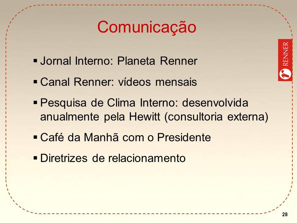 28 Comunicação Jornal Interno: Planeta Renner Canal Renner: vídeos mensais Pesquisa de Clima Interno: desenvolvida anualmente pela Hewitt (consultoria