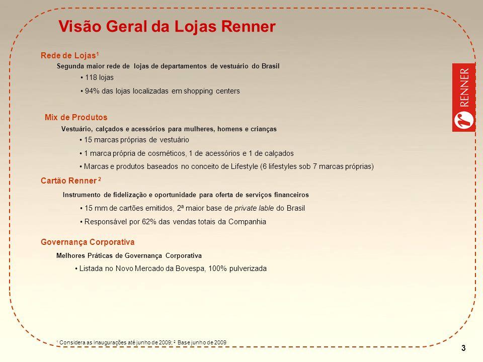 4 Fonte: Credit Suisse, estimativas da Lojas Renner e websites das Empresas Posicionamento de Mercado Posicionamento de Mercado dos Principais Varejistas de Vestuário Fashion Preço 0% 20% 40% 60% 80%100% 120% 0% 10% 20% 30% 40% 50% 60% 70% 80% 90% 100% 110% Mercado Informal C&A Supermercados Zara RENNER Riachuelo Marisa