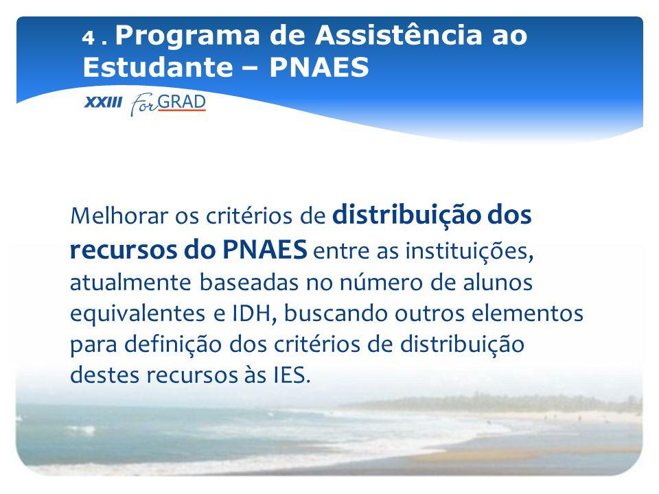 Melhorar os critérios de distribuição dos recursos do PNAES entre as instituições, atualmente baseadas no número de alunos equivalentes e IDH, buscand