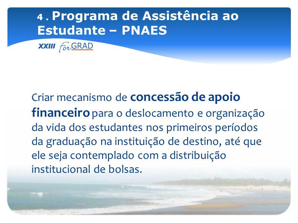 Criar mecanismo de concessão de apoio financeiro para o deslocamento e organização da vida dos estudantes nos primeiros períodos da graduação na insti
