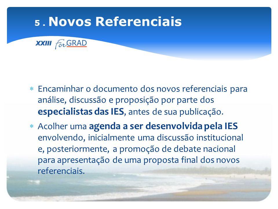 Encaminhar o documento dos novos referenciais para análise, discussão e proposição por parte dos especialistas das IES, antes de sua publicação. Acolh