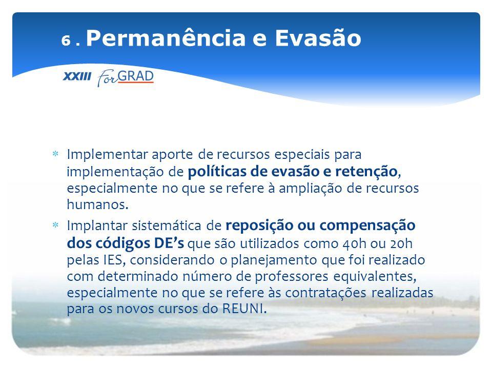 Implementar aporte de recursos especiais para implementação de políticas de evasão e retenção, especialmente no que se refere à ampliação de recursos