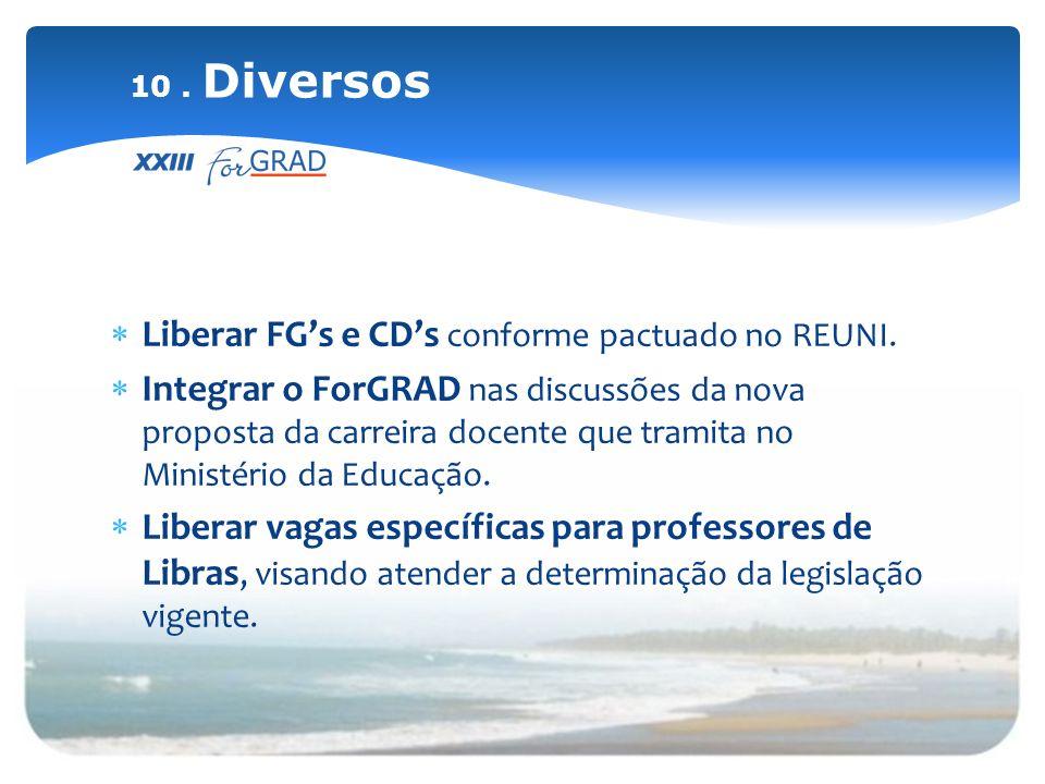 Liberar FGs e CDs conforme pactuado no REUNI. Integrar o ForGRAD nas discussões da nova proposta da carreira docente que tramita no Ministério da Educ