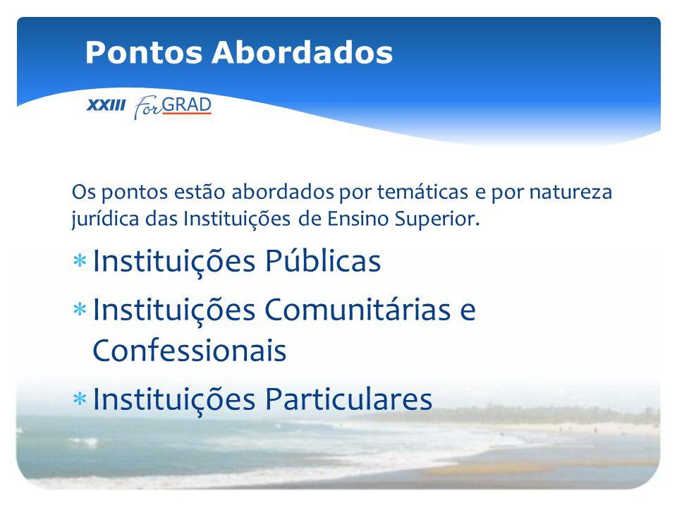 Os pontos estão abordados por temáticas e por natureza jurídica das Instituições de Ensino Superior. Instituições Públicas Instituições Comunitárias e