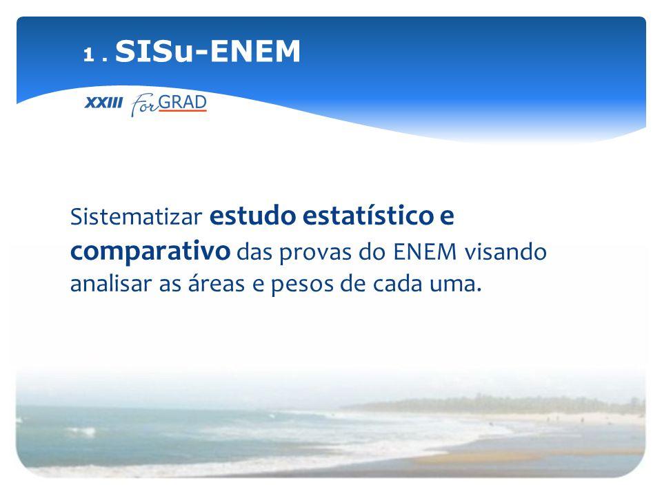 Sistematizar estudo estatístico e comparativo das provas do ENEM visando analisar as áreas e pesos de cada uma. 1. SISu-ENEM