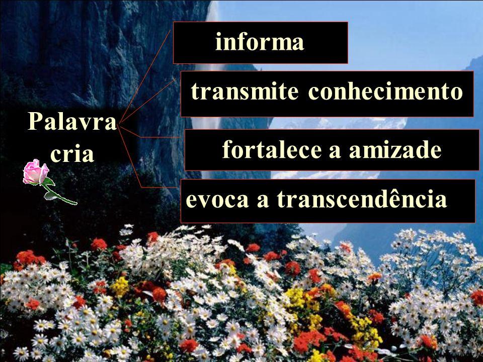 Palavra cria informa transmite conhecimento fortalece a amizade evoca a transcendência