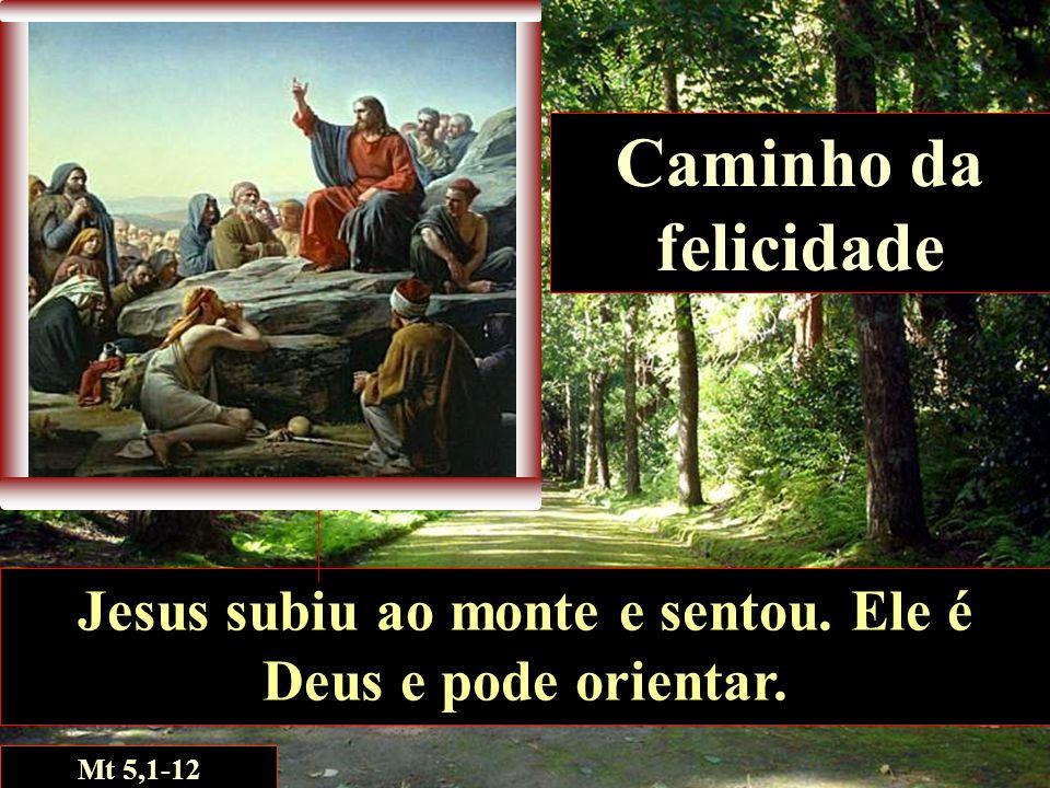 Caminho da felicidade Jesus subiu ao monte e sentou. Ele é Deus e pode orientar. Mt 5,1-12