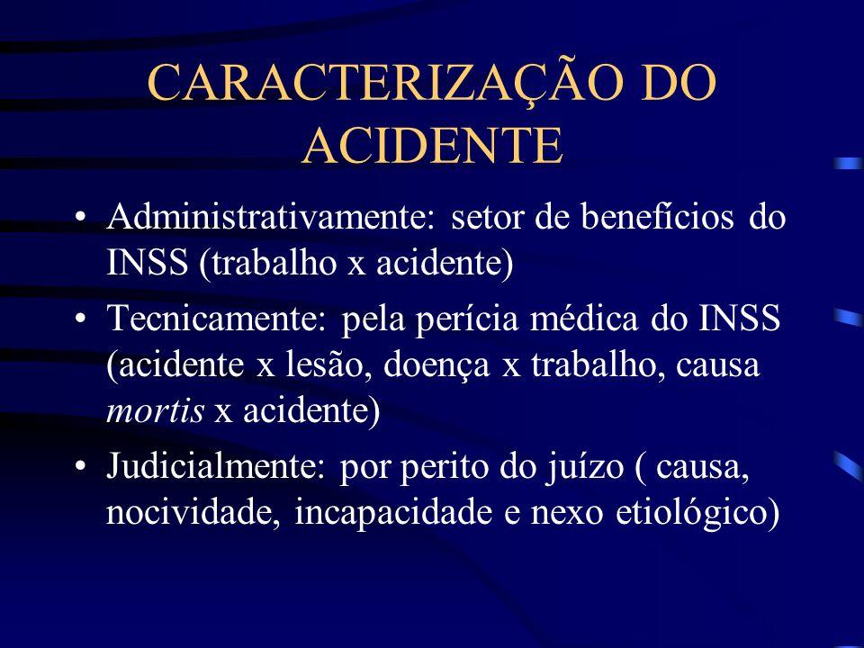 CARACTERIZAÇÃO DO ACIDENTE Administrativamente: setor de benefícios do INSS (trabalho x acidente) Tecnicamente: pela perícia médica do INSS (acidente