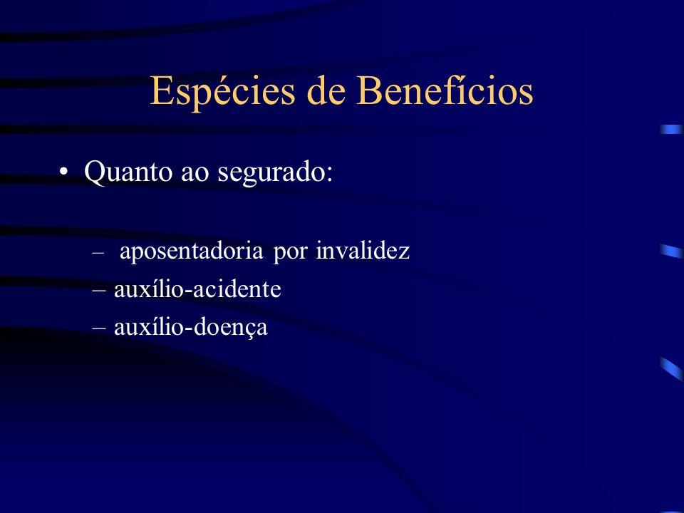 Espécies de Benefícios Quanto ao segurado: – aposentadoria por invalidez –auxílio-acidente –auxílio-doença