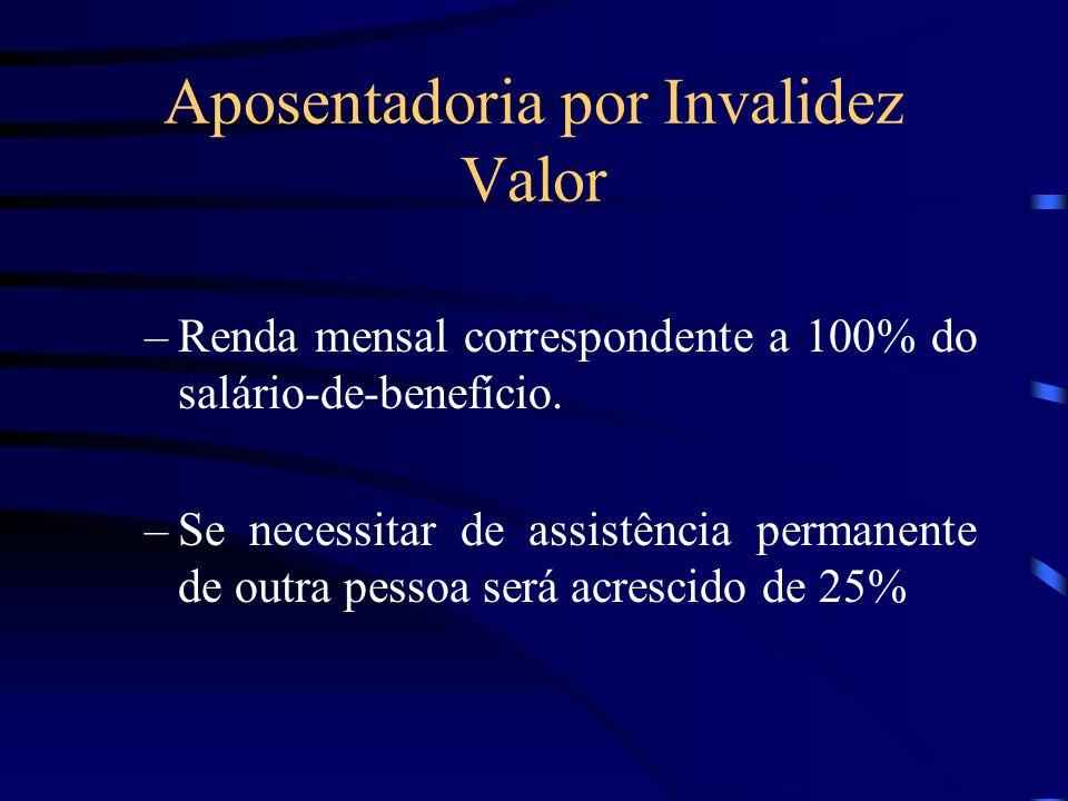 Aposentadoria por Invalidez Valor –Renda mensal correspondente a 100% do salário-de-benefício. –Se necessitar de assistência permanente de outra pesso