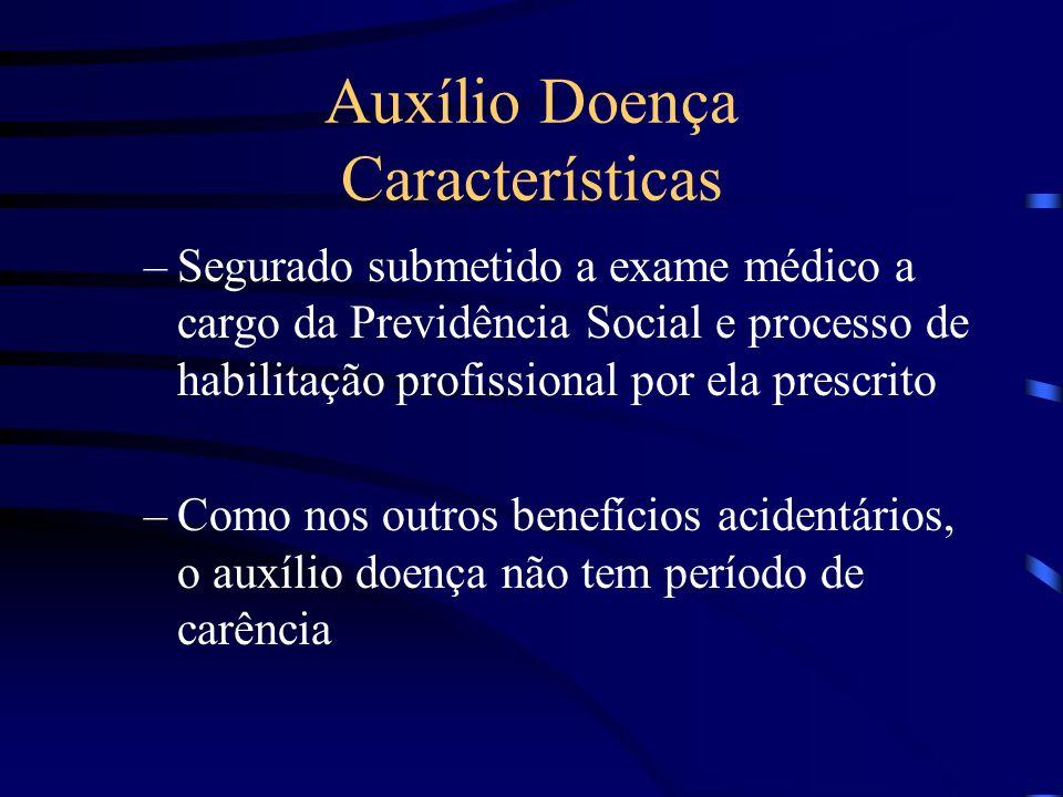 Auxílio Doença Características –Segurado submetido a exame médico a cargo da Previdência Social e processo de habilitação profissional por ela prescri
