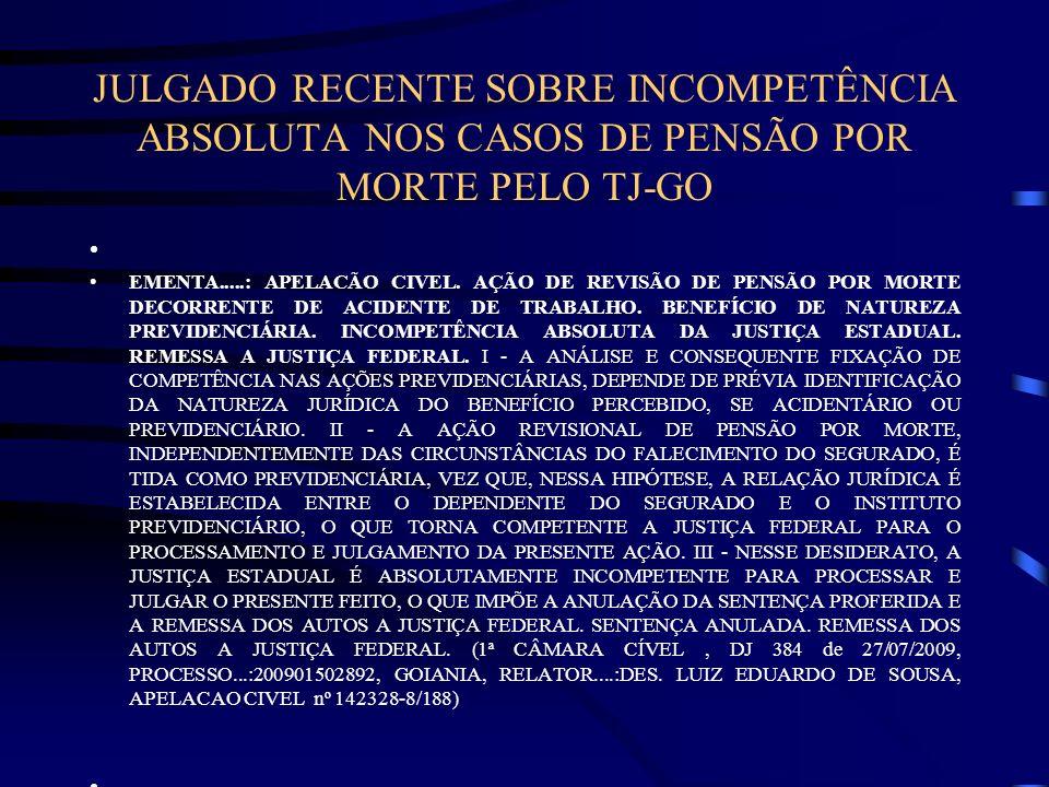 JULGADO RECENTE SOBRE INCOMPETÊNCIA ABSOLUTA NOS CASOS DE PENSÃO POR MORTE PELO TJ-GO EMENTA.....: APELACÃO CIVEL. AÇÃO DE REVISÃO DE PENSÃO POR MORTE
