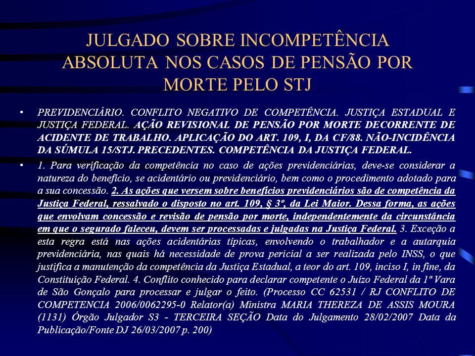 JULGADO SOBRE INCOMPETÊNCIA ABSOLUTA NOS CASOS DE PENSÃO POR MORTE PELO STJ PREVIDENCIÁRIO. CONFLITO NEGATIVO DE COMPETÊNCIA. JUSTIÇA ESTADUAL E JUSTI