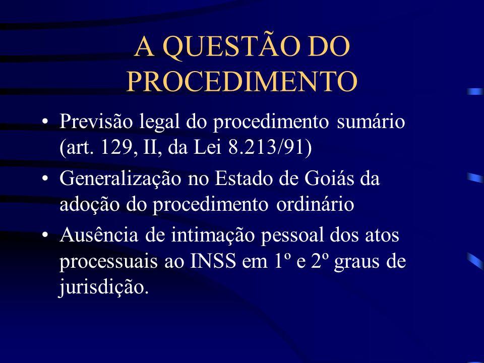A QUESTÃO DO PROCEDIMENTO Previsão legal do procedimento sumário (art. 129, II, da Lei 8.213/91) Generalização no Estado de Goiás da adoção do procedi