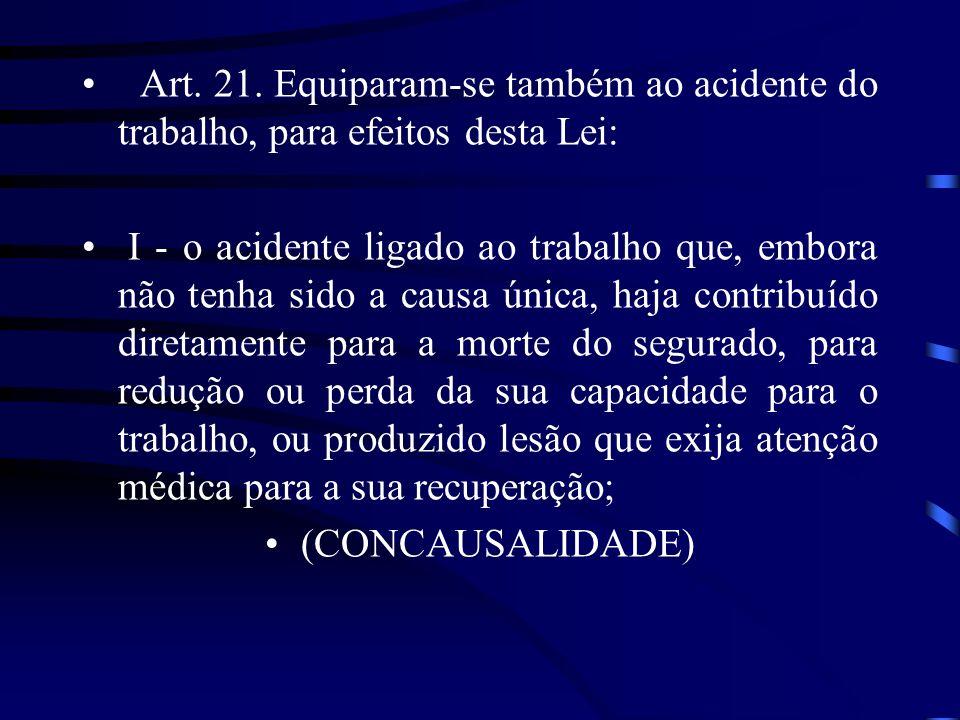 Art. 21. Equiparam-se também ao acidente do trabalho, para efeitos desta Lei: I - o acidente ligado ao trabalho que, embora não tenha sido a causa úni