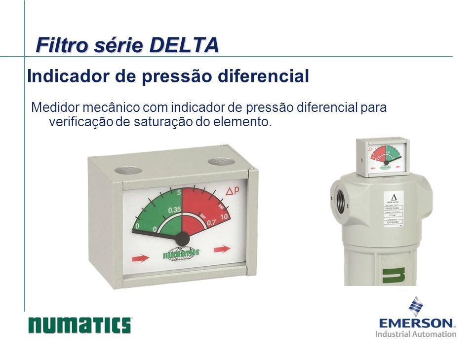 Indicador de pressão diferencial Medidor mecânico com indicador de pressão diferencial para verificação de saturação do elemento. Filtro série DELTA
