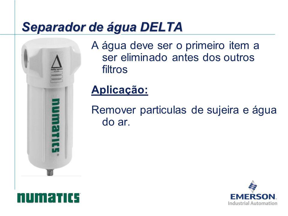 A água deve ser o primeiro item a ser eliminado antes dos outros filtros Aplicação: Remover particulas de sujeira e água do ar. Separador de água DELT