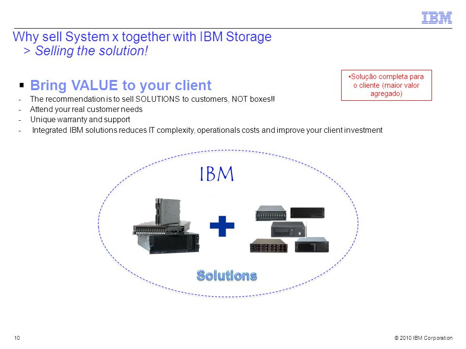 © 2010 IBM Corporation10 Why sell System x together with IBM Storage > Selling the solution! Bring VALUE to your client -The recommendation is to sell