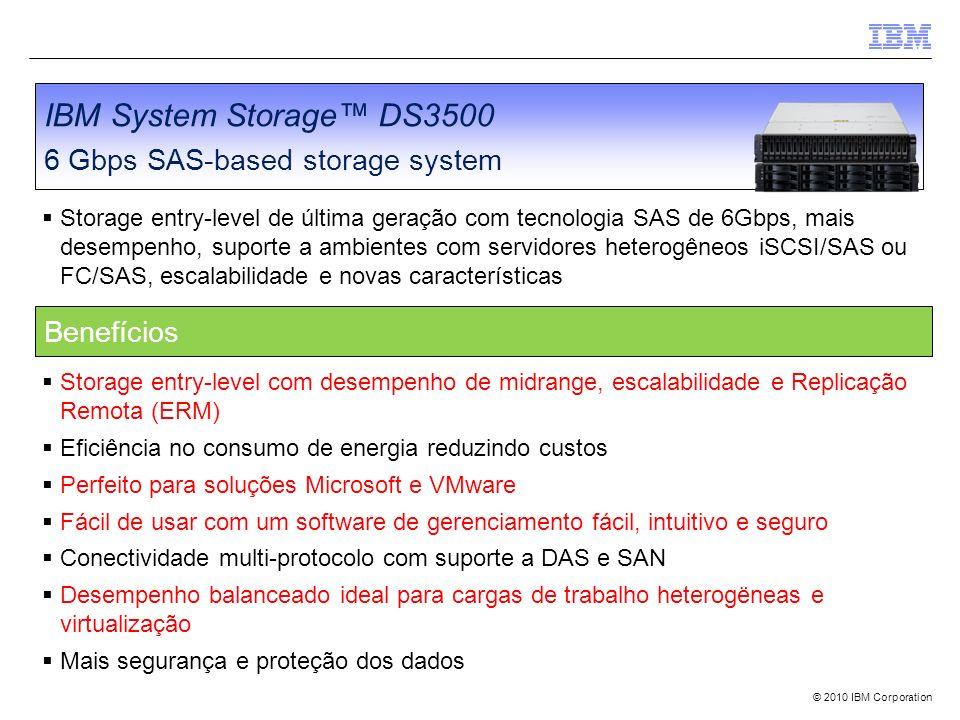 © 2010 IBM Corporation IBM System Storage DS3500 6 Gbps SAS-based storage system Storage entry-level de última geração com tecnologia SAS de 6Gbps, ma