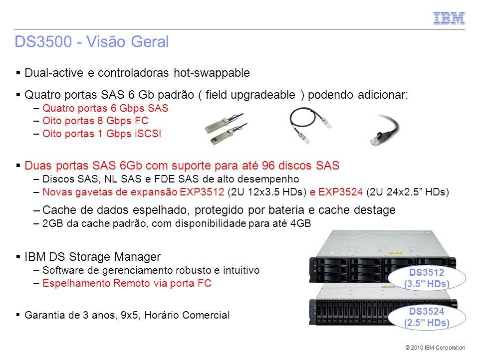 © 2010 IBM Corporation DS3500 - Visão Geral Dual-active e controladoras hot-swappable Quatro portas SAS 6 Gb padrão ( field upgradeable ) podendo adic