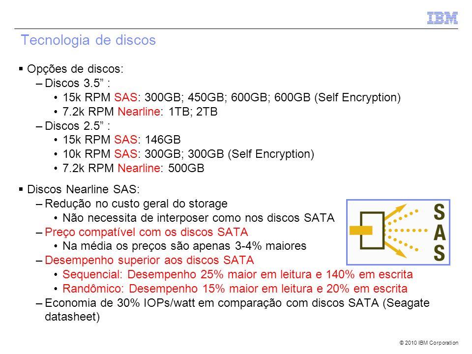 © 2010 IBM Corporation Opções de discos: –Discos 3.5 : 15k RPM SAS: 300GB; 450GB; 600GB; 600GB (Self Encryption) 7.2k RPM Nearline: 1TB; 2TB –Discos 2