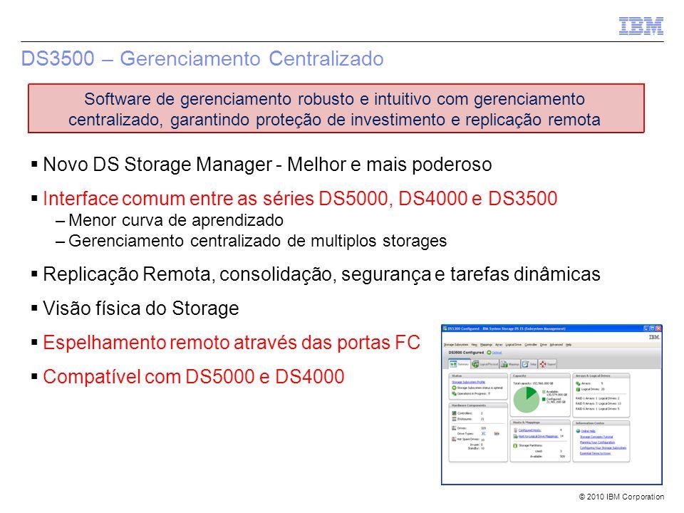 © 2010 IBM Corporation Novo DS Storage Manager - Melhor e mais poderoso Interface comum entre as séries DS5000, DS4000 e DS3500 –Menor curva de aprend