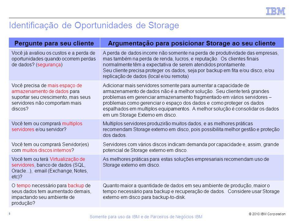 © 2010 IBM Corporation Identificação de Oportunidades de Storage 8 Pergunte para seu clienteArgumentação para posicionar Storage ao seu cliente Você j