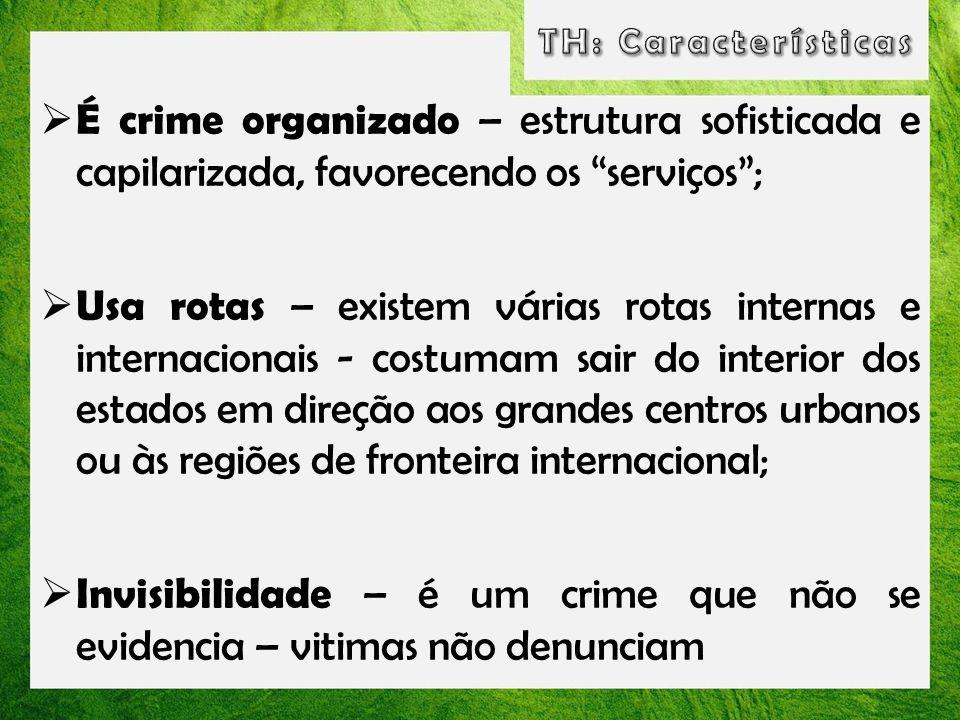 É crime organizado – estrutura sofisticada e capilarizada, favorecendo os serviços; Usa rotas – existem várias rotas internas e internacionais - costu