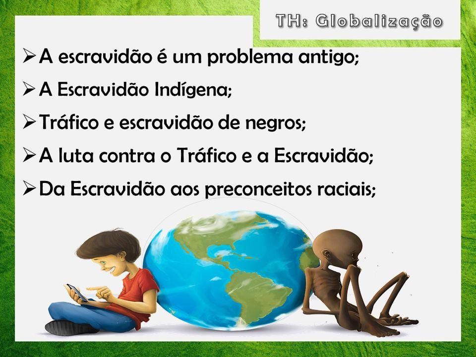 A escravidão é um problema antigo; A Escravidão Indígena; Tráfico e escravidão de negros; A luta contra o Tráfico e a Escravidão; Da Escravidão aos pr