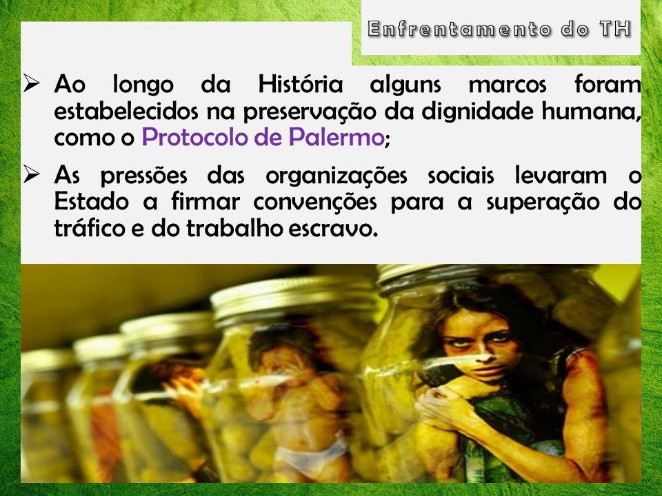 Ao longo da História alguns marcos foram estabelecidos na preservação da dignidade humana, como o Protocolo de Palermo; As pressões das organizações s