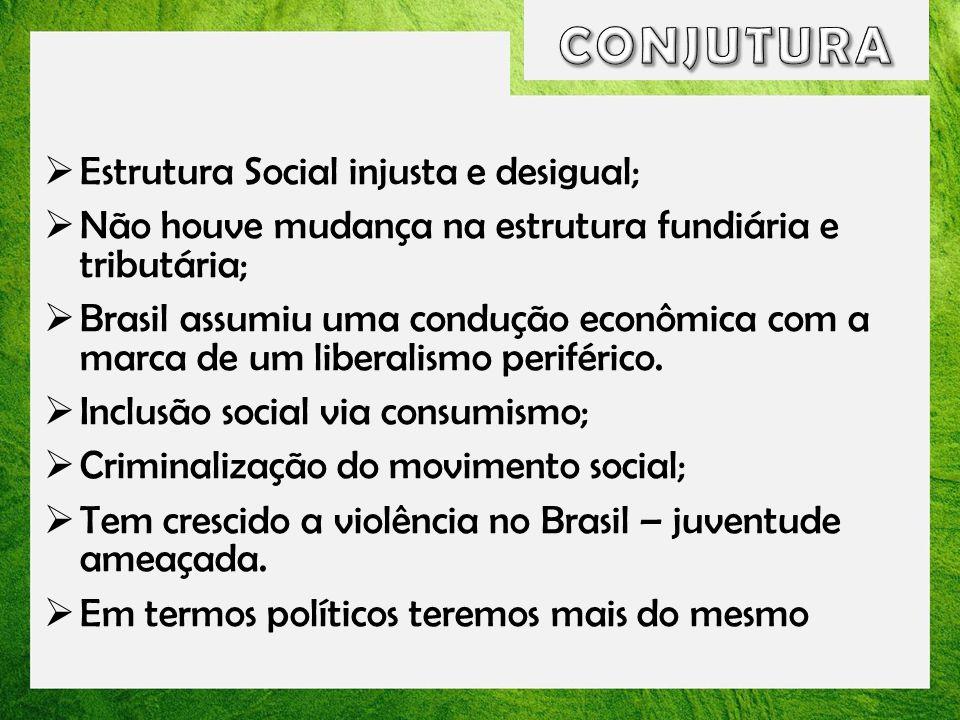 Estrutura Social injusta e desigual; Não houve mudança na estrutura fundiária e tributária; Brasil assumiu uma condução econômica com a marca de um li