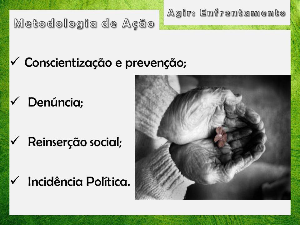 Conscientização e prevenção; Denúncia; Reinserção social; Incidência Política.