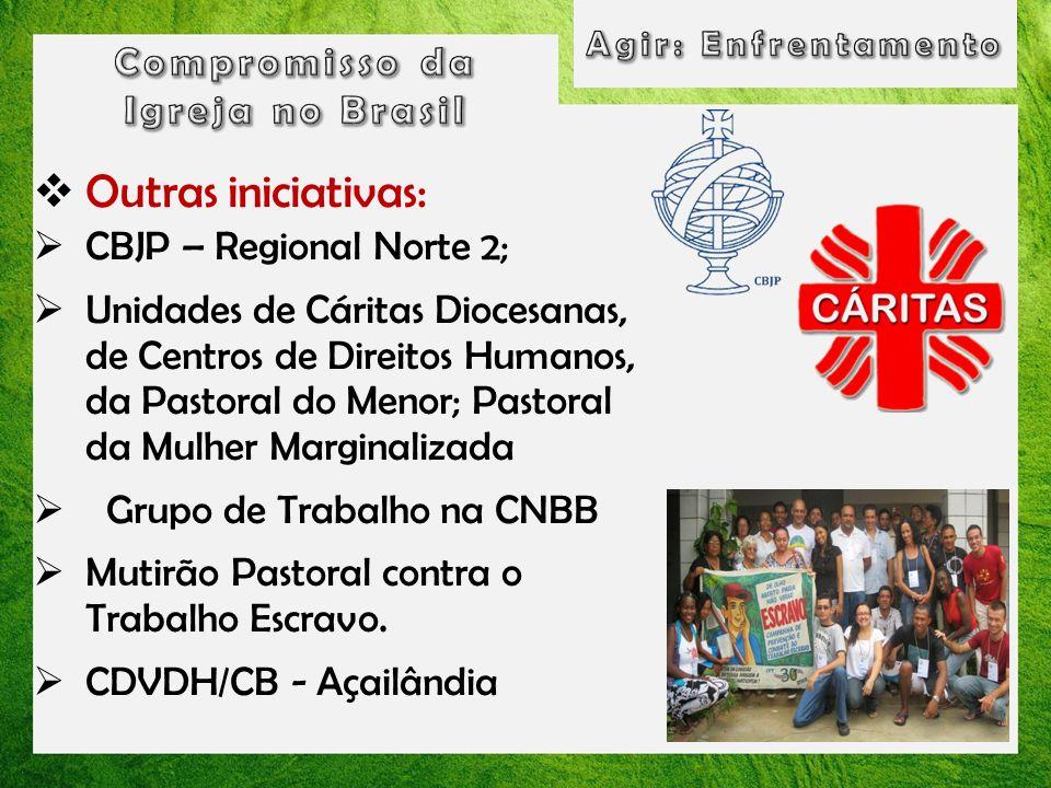 Outras iniciativas: CBJP – Regional Norte 2; Unidades de Cáritas Diocesanas, de Centros de Direitos Humanos, da Pastoral do Menor; Pastoral da Mulher