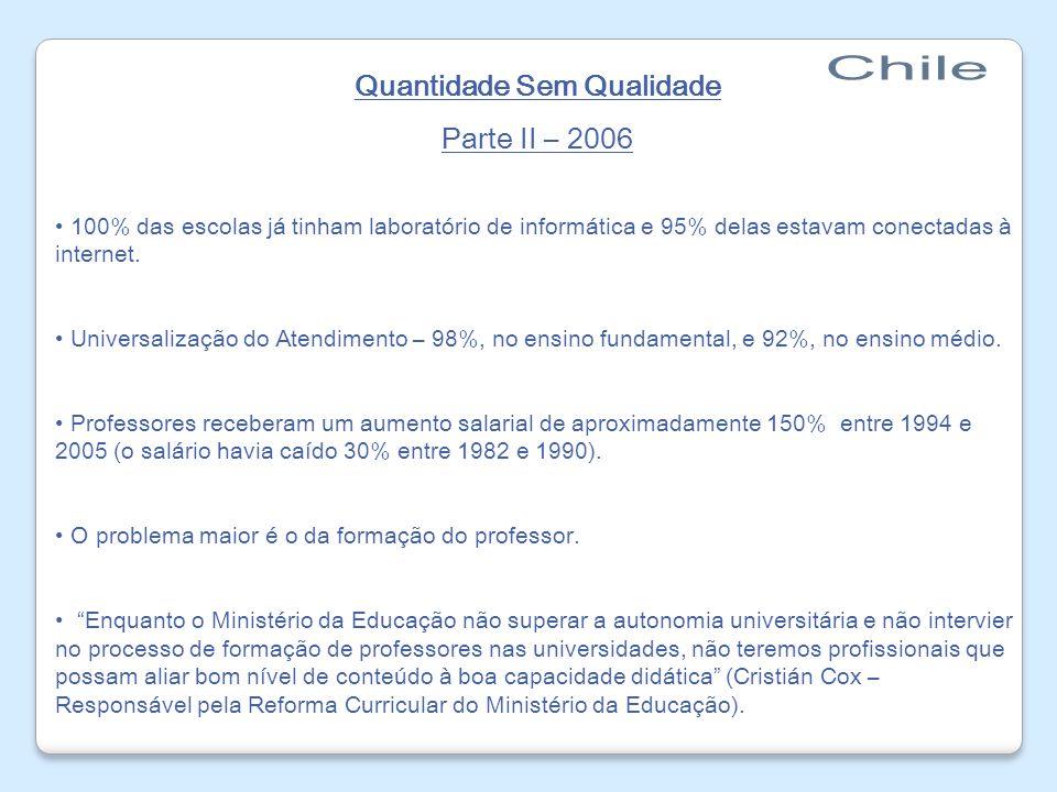 Quantidade Sem Qualidade Parte II – 2006 100% das escolas já tinham laboratório de informática e 95% delas estavam conectadas à internet. Universaliza
