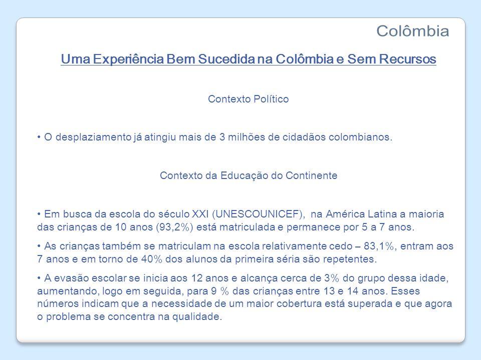 Uma Experiência Bem Sucedida na Colômbia e Sem Recursos Panorama educacional na Colômbia O Gasto por aluno na Colômbia é baixo, pouco superior a US$ 400 por aluno/ano, muito menos que o Brasil, que gasta cerca de US$ 950.