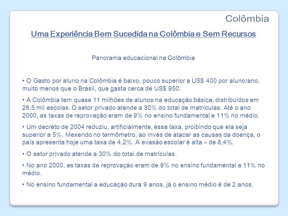Uma Experiência Bem Sucedida na Colômbia e Sem Recursos Panorama educacional na Colômbia O Gasto por aluno na Colômbia é baixo, pouco superior a US$ 4