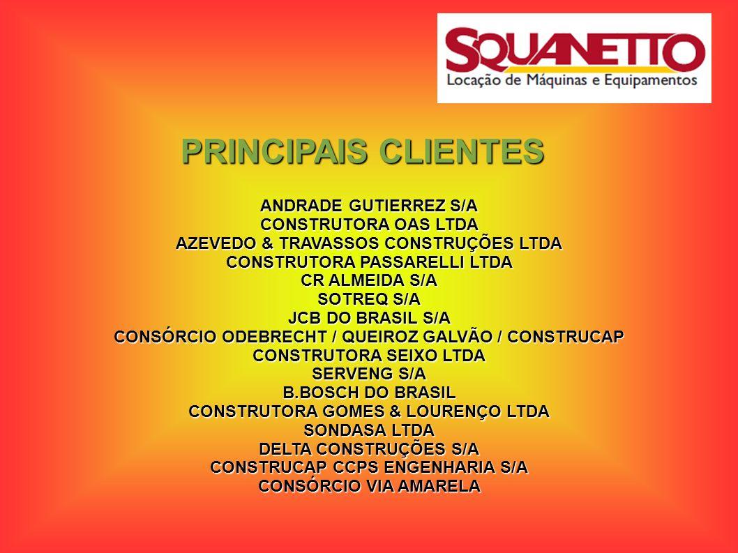 PRINCIPAIS CLIENTES ANDRADE GUTIERREZ S/A CONSTRUTORA OAS LTDA AZEVEDO & TRAVASSOS CONSTRUÇÕES LTDA CONSTRUTORA PASSARELLI LTDA CR ALMEIDA S/A SOTREQ