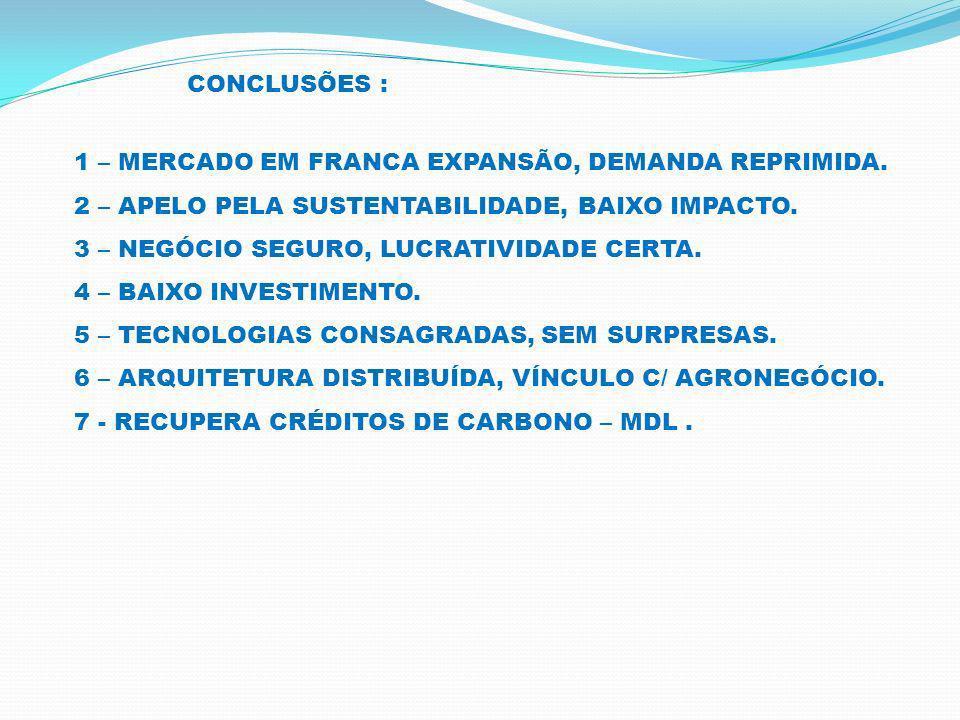 MERCADO FACTÍVEL P/ ENERGIA DE BIOMASSA: ATÉ 2020 26.000 Mega Watts para Cana.